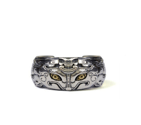 Men's beast sterling silver ring