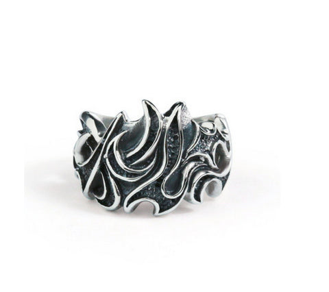 Men's dark fire sterling silver ring