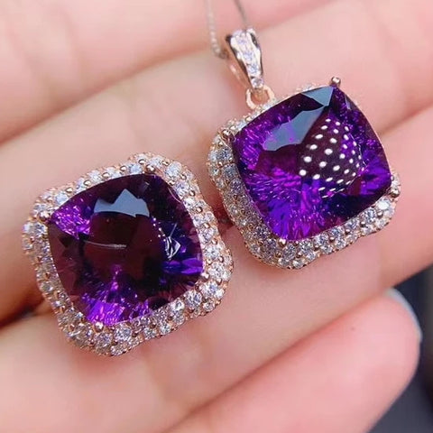 Amethyst sterling silver jewelry set
