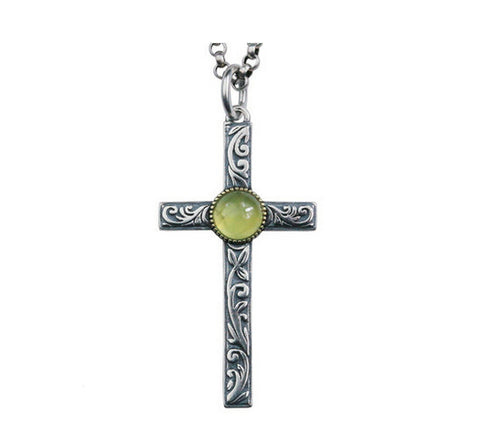 Men's sterling silver natural stone cross pendant & necklace