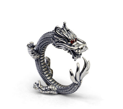 Men's vintage 3D dragon sterling silver ring