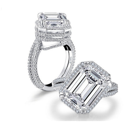 6ct emerald cut diamond engagement ring
