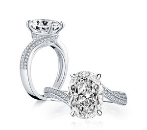 5CT oval cut diamond engagement ring