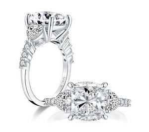 Cushion cut 5ct diamond wedding ring