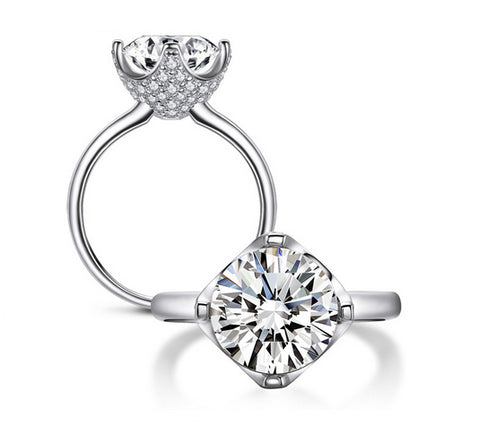 3.5CT round cut promise diamond silver ring