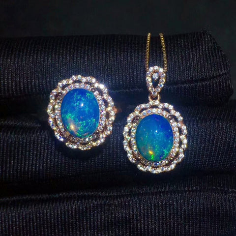 Luxury opal sterling silver jewelry set