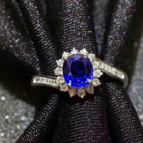 Genuine sapphire oval cut silver free size ring