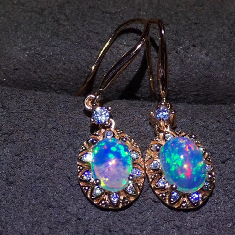 Natural opal sterlings silver drop earrings