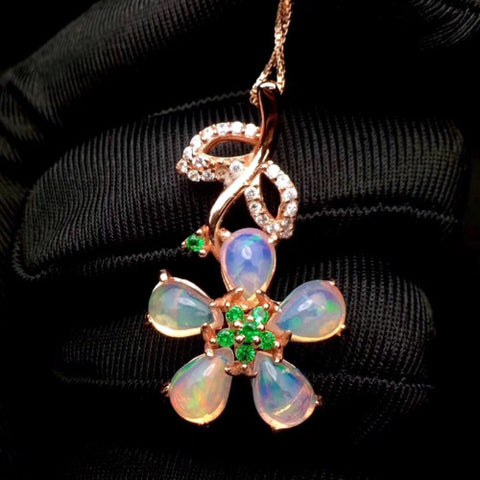 Natural opal sterling silver pendant and necklace