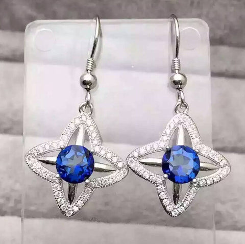 Natural blue tanzania topaz drop star dangle sterling silver earrings