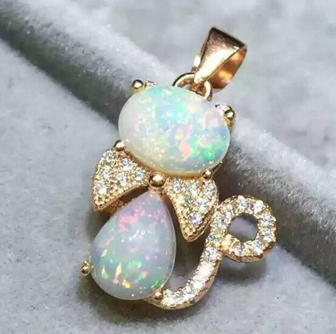 Genuine opal cute cat pendant and neckalce - MOWTE