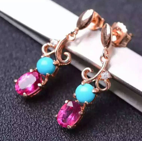 Natural blue turquoise & pink topaz silver drop earrings