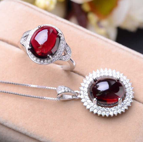Fashion garnet silver sets - MOWTE
