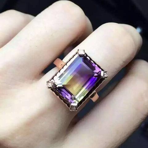 Luxury natural ametrine sterling silver free size ring - MOWTE