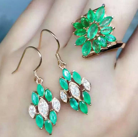Fashion natural green emerald sterling silver jewelry set