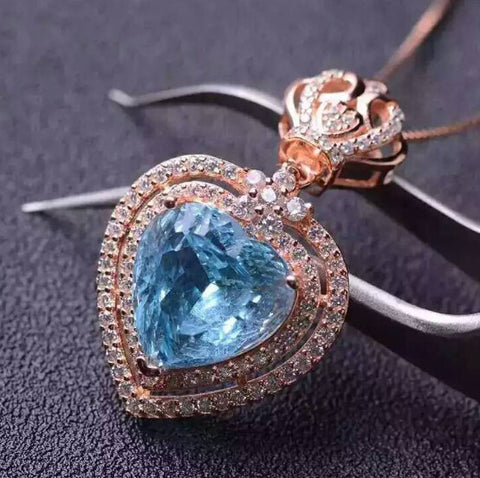 Fashion natural heart cut blue topaz sterling silver necklace
