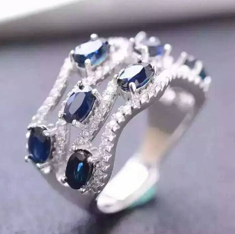 Women natural sapphire sterling silver free size ring