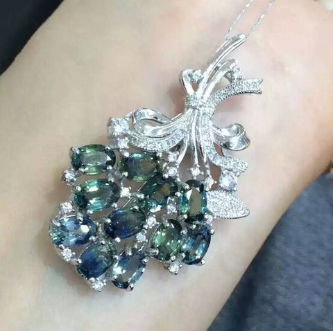 Luxury flower sterling silver sapphire pendant or brooch
