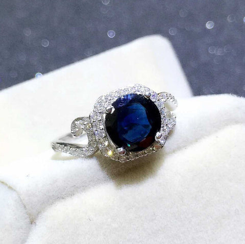 Genuine sapphire sterling silver free size ring