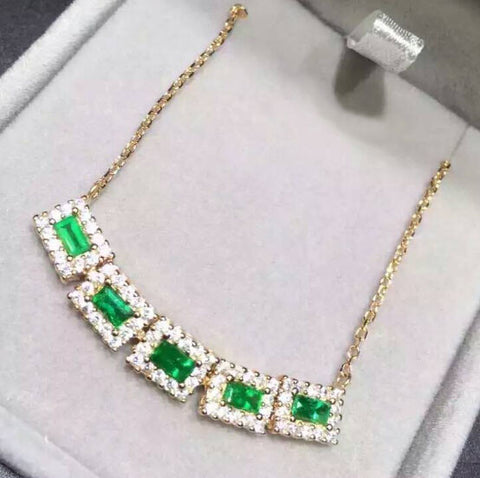 Fashion luxury natural silver green emerald necklace