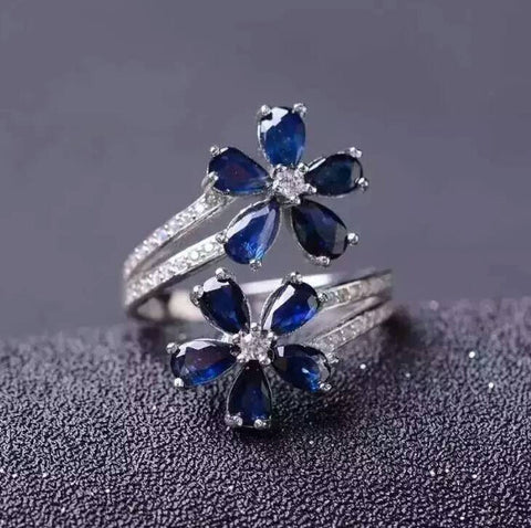 Classic genuine sapphire sterling silver flower free size ring