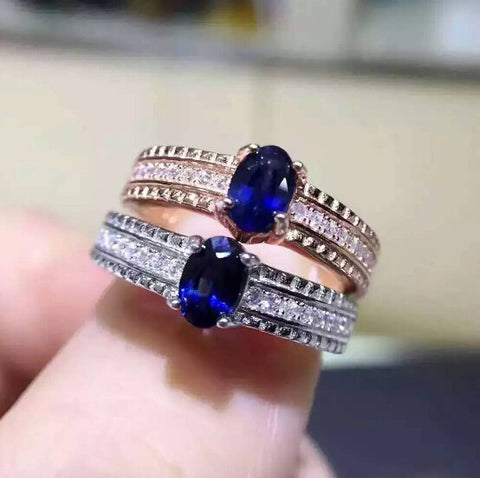 Genuine sapphire sterling silver ring free size ring