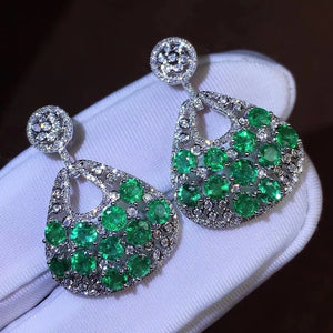 Natural luxury emerald sterling silver earrings - MOWTE