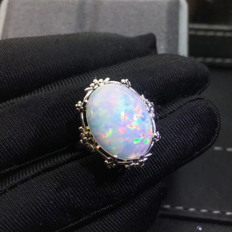 Colorful natural opal sterling silver adjustable ring