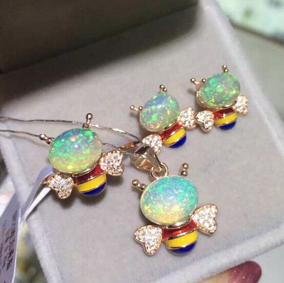 Cute Bee Opal silver jewelry sets