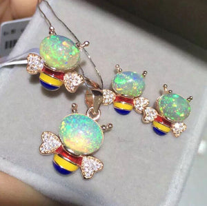 Cute Bee Opal silver jewelry sets - MOWTE
