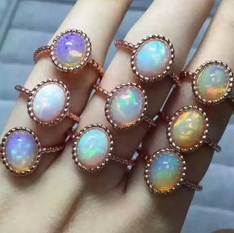 New arrival natural opal silver free size ring - MOWTE