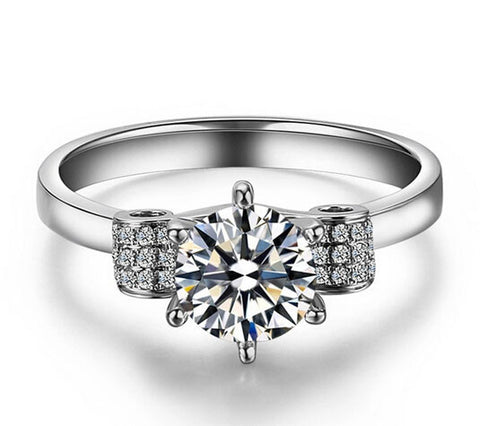 1CT SONA DIAMOND silver ring - MOWTE