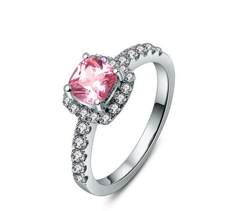 Cushion cut 1-3CT Pink SONA DIAMOND wedding ring