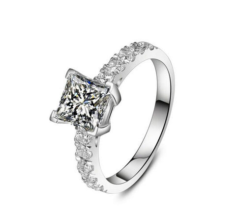 1CT princess diamond silver ring - MOWTE