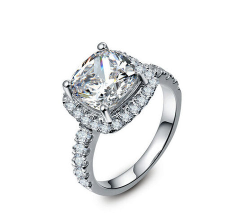 3CT cushion cut diamond ring - MOWTE