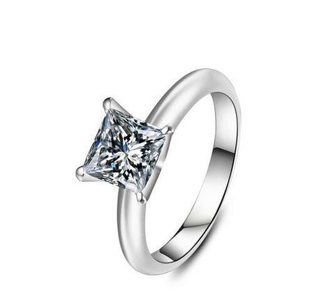 2CT princess diamond bride ring - MOWTE