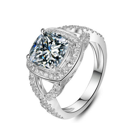 3CT cushion cut sona diamond ring - MOWTE