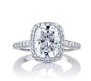 3.85CT cushion cut diamond wedding ring - MOWTE