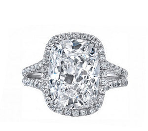 3CT cushion cut diamond wedding ring - MOWTE