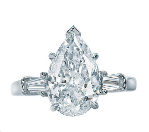 2CT pear cut diamond engagement ring - MOWTE