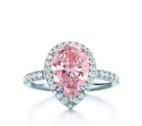 3CT Pear cut pink SONA DIAMOND engagement ring - MOWTE