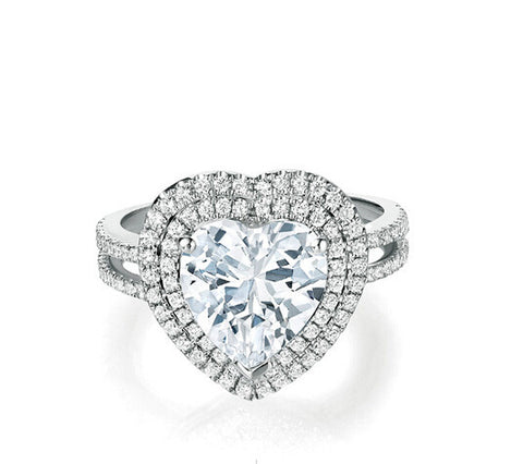 2CT my heart diamond wedding ring - MOWTE