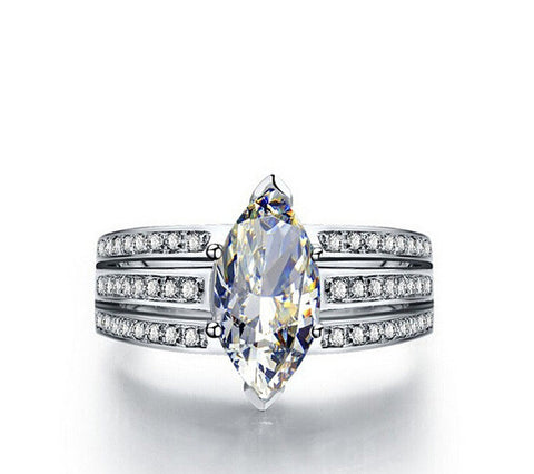 3CT Marquise cut diamond silver wedding ring - MOWTE