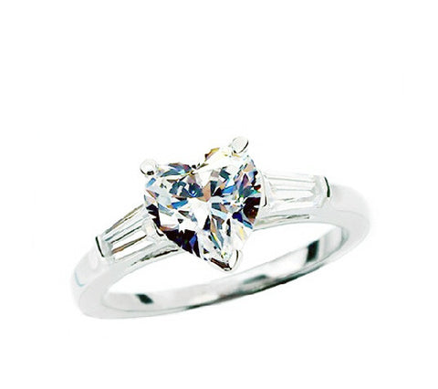 2CT heart cut luxury diamond wedding ring - MOWTE