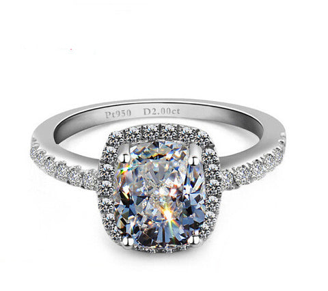 2CT princess diamond silver ring - MOWTE