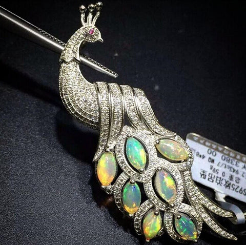 Opal 925 stetling silver peacock pendant and brooch