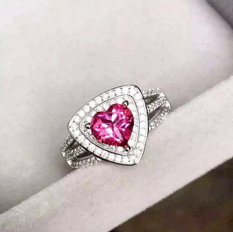 Pink topaz sterling silver free size ring