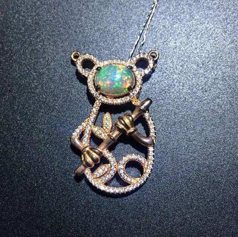 Pure opal sterling silver pendant and necklace