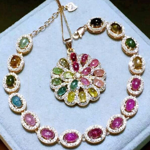 Colorful candy tourmaline silver jewelry sets