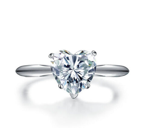 2ct heart cut diamond engagement ring - MOWTE